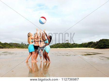 Girls Playing With Beach Ball