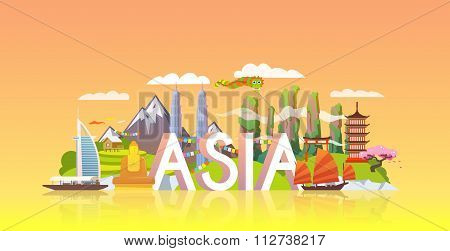 Travel banner. Trip to Asia.