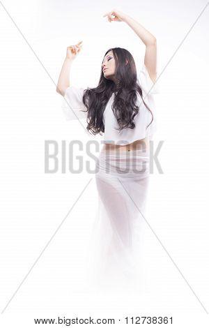 Isolated Brunette Model Posing