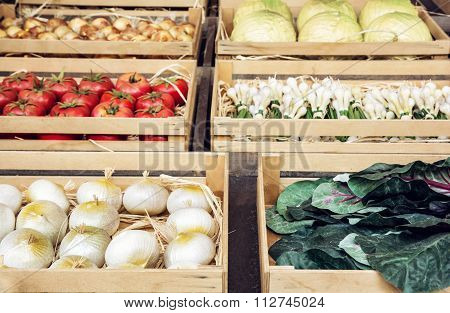 Various Vegetable In Wooden Containers, Rural Marketplace