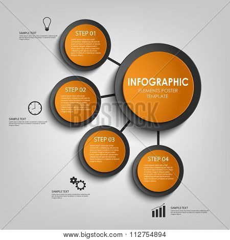 Info Graphic With Orange And Black Design Circles Template