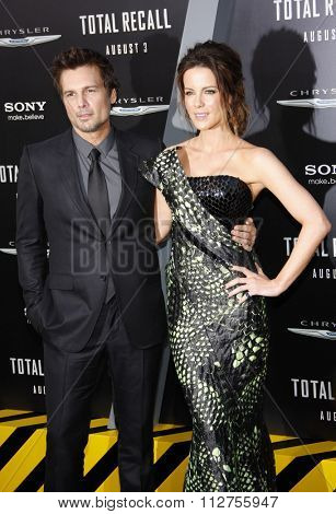 LOS ANGELES, CALIFORNIA - August 1, 2012. Len Wiseman and Kate Beckinsale at the Los Angeles premiere of