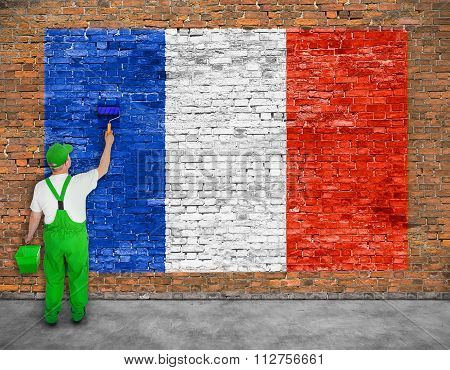 House Painter Paints Flag Of France