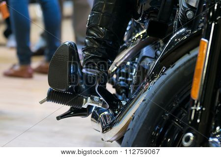 Zoom Motorcycle Engine In Car Show Event