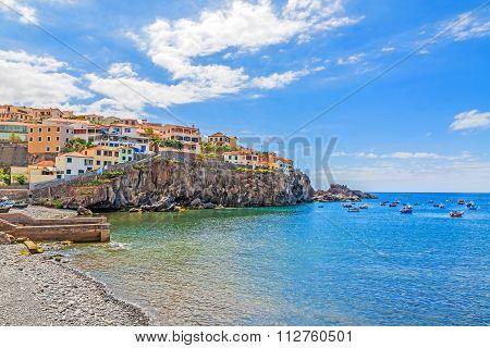 Camara De Lobos Harbor, Madeira With Fishing Boats