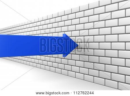 Blue Arrow Crashes Into A Brick Wall