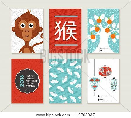 Chinese New Year 2016 Monkey Card Set Cute