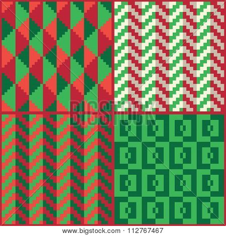 4 pixel Christmas patterns