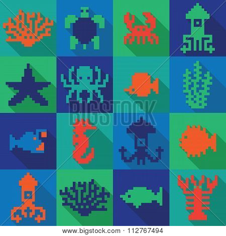 Seamless colorful pixel deep sea pattern