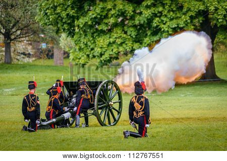 LONDON - UK, MAY 08, 2013: The King's Troop in Green Park are firing gun salutes for State Opening of Parliament.