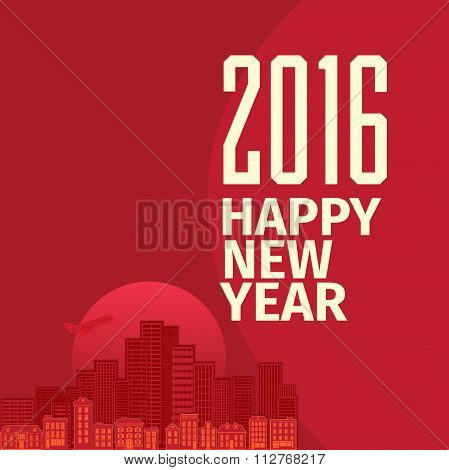Flat style New Year wish greeting card