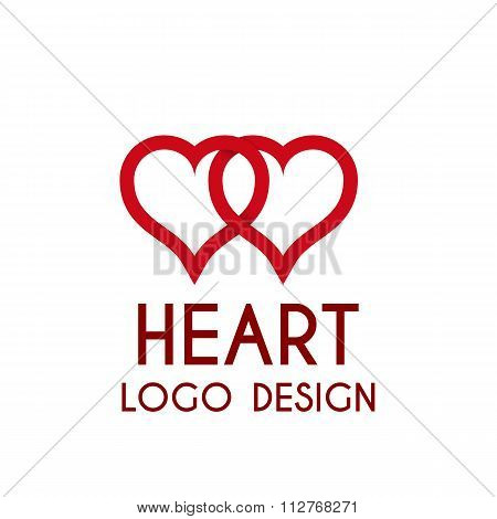 Vector illustration heart logo . 3d illustration.