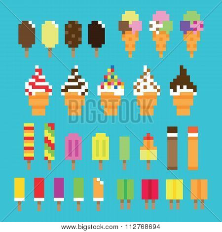 Collection retro pixel ice cream in vector