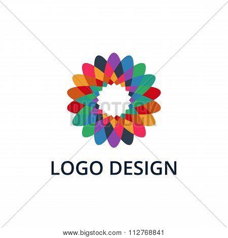 Vector illustration of colorful flower logo