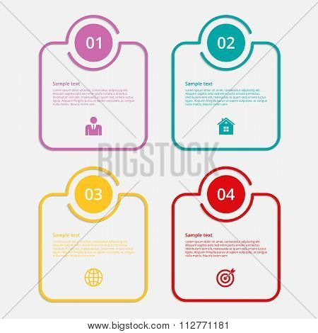 Vector illustration infographics linear squares