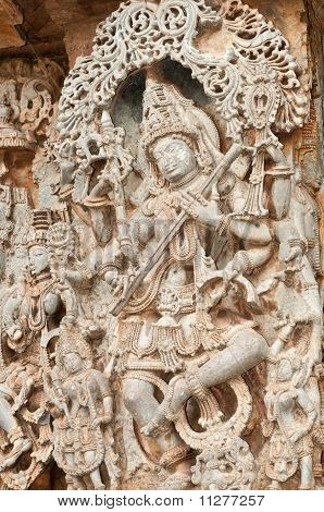 A section from the world famous hoysala architecture in India poster