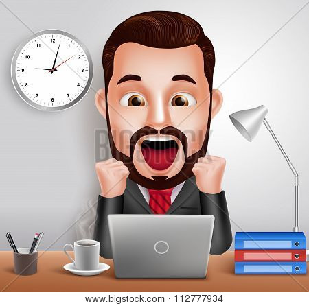 Business Man Vector Character with Shocked and Surprised Expression Working in Office Desk
