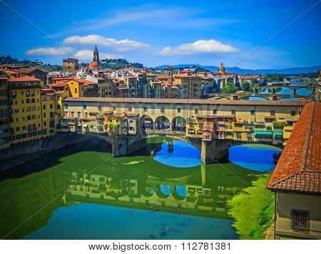 The Ponte Vecchio and Reflection in Arno River - Florence, Italy poster