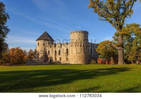 Old castle ruins in Cesis, Latvia