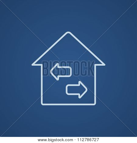 Property resale line icon for web, mobile and infographics. Vector light blue icon isolated on blue background.