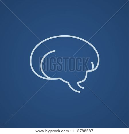 Brain line icon for web, mobile and infographics. Vector light blue icon isolated on blue background.