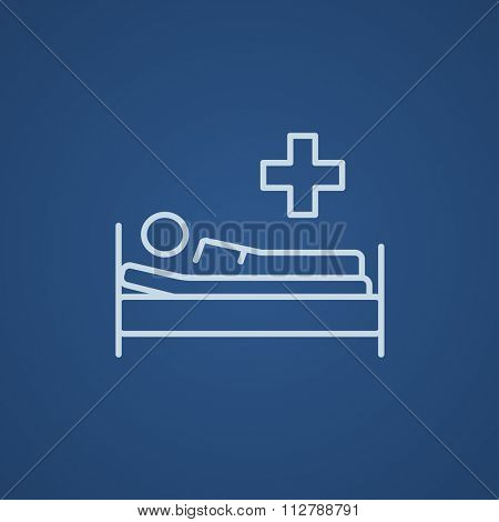 Patient lying on the bed line icon for web, mobile and infographics. Vector light blue icon isolated on blue background.