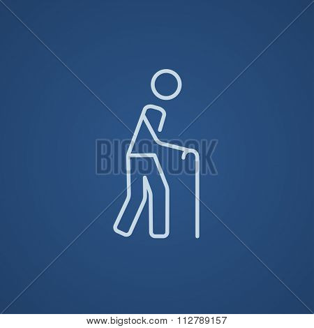 Man walking with cane line icon for web, mobile and infographics. Vector light blue icon isolated on blue background.