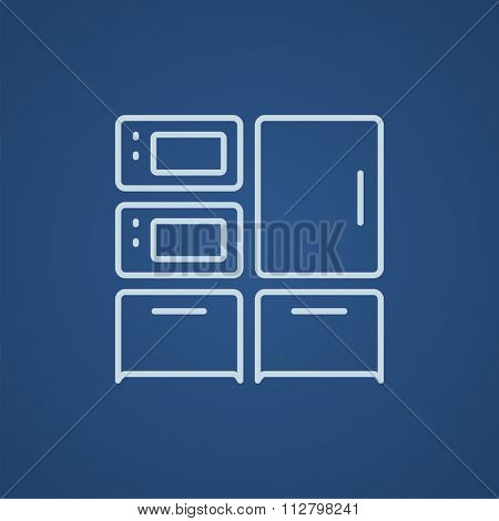 Household appliances line icon for web, mobile and infographics. Vector light blue icon isolated on blue background.
