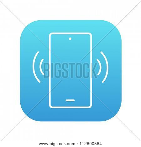 Vibrating phone line icon for web, mobile and infographics. Vector white icon on the blue gradient square with rounded corners isolated on white background.