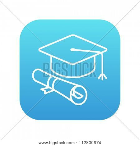 Graduation cap with paper scroll line icon for web, mobile and infographics. Vector white icon on the blue gradient square with rounded corners isolated on white background.
