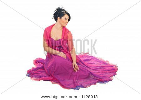Beautiful Model Woman In Elegant Dress