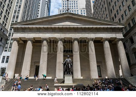 New York City Federal Hall National Memorial with President George Washington Statue