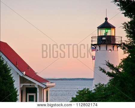 Sunset Over Warwick Harbor Lighthouse In Rhode Island