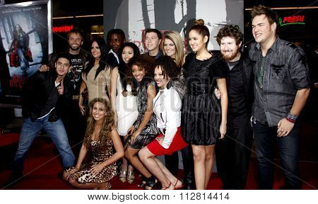 Scotty McCreery and other American Idol finalists at the Los Angeles Premiere of