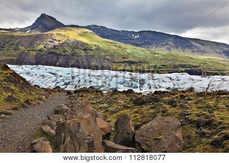 Skaftafell National Park. The southern part of the huge glacier Vatnajokull