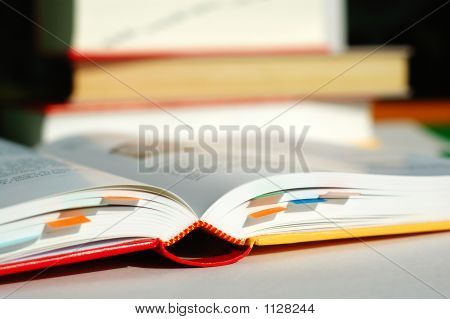 Reading Book With Bookmarks