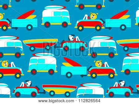 Animals driving to the beach beep beep repeat pattern . poster
