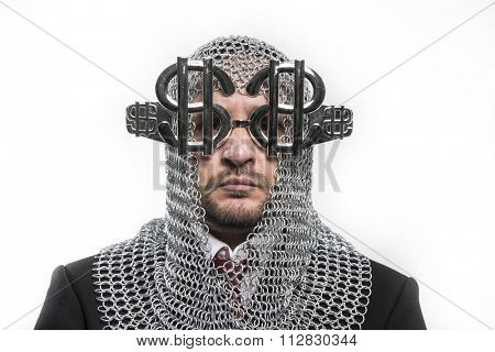 businessman with medieval executioner in metal and silver glasses. concept of protection of savings and money