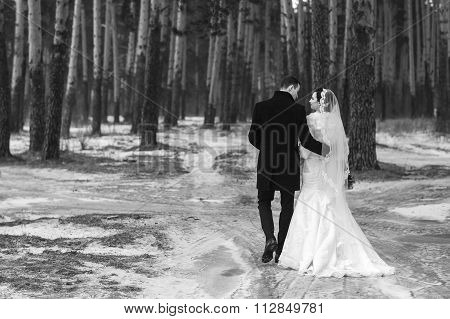 Young Couple Newlyweds Go Away In The Winter Forest In The Snow