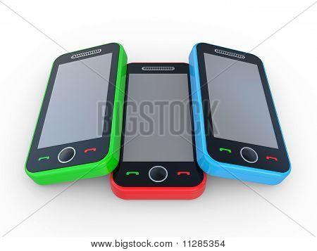 Multi-coloured 3D Mobile Phones