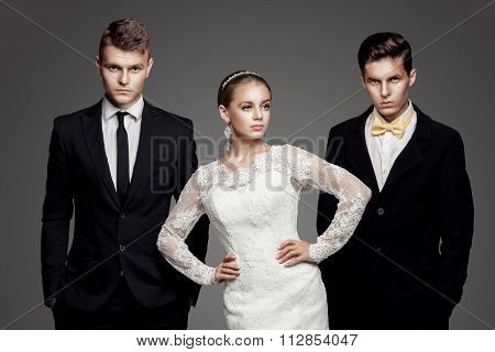 Beautiful Bride Going To Choose Between Two Grooms