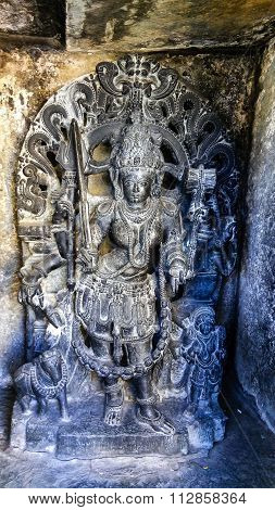 Lord Veerabhadra statue of Chennakeshava temple at Belur captured on December 30th, 2015
