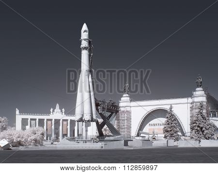 On Territory Of The Exhibition Complex. Infrared Photography. The Carrier Rocket Vostok