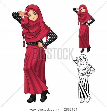 Muslim Girl Fashion Wearing Red Veil or Scarf with Polka Dots and Skirt Outfit