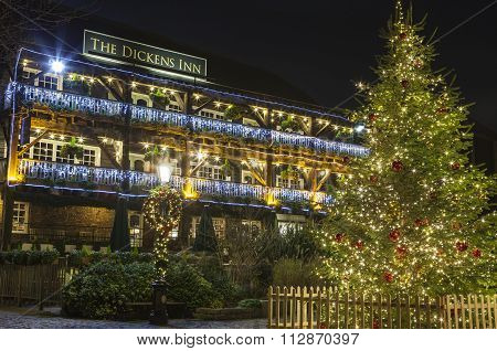 The Dickens Inn Public House At Christmas