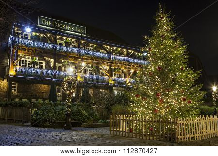The Dickens Inn Public House At Christmas In London