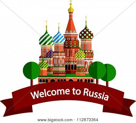 Welcome to Russia banner, vector illustration
