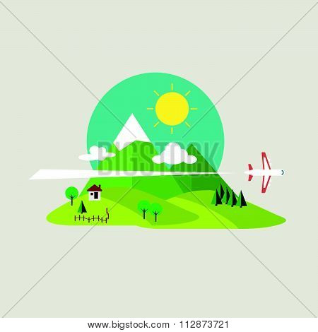 Travel concept. Colorful hill and plane vector illustration