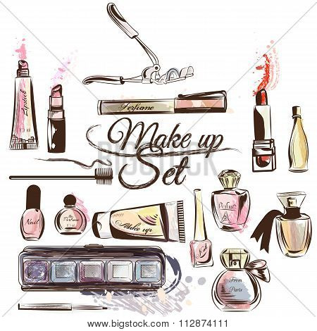 Vector Set From Cosmetics In Watercolor Style