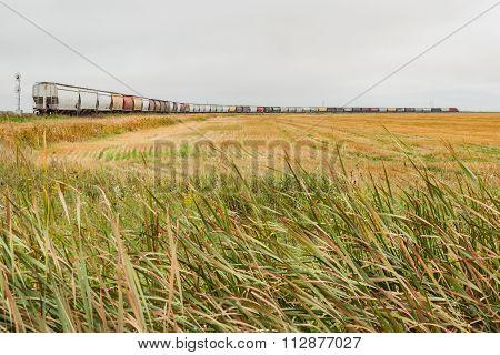 A Grain Train On The Plains